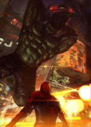 Hulk vs Spiderman by Memed
