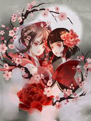 Onmyoji - Sakura and Momo by Pochi-mochi