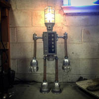 Found object robot assemblage sculpture light by adoptabot