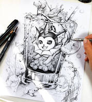 Vaporeon pencil drawing by Naschi