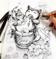 Blueberry Snorlax by Naschi