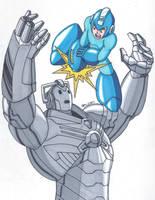 Mega Man vs Cyberman by RobertMacQuarrie1