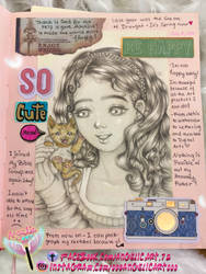 Journal Sketch: Girl and kitten by oooangelicartooo