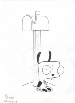 Invader Zim - Gir waiting for the mail by Petrus-C-Visagie
