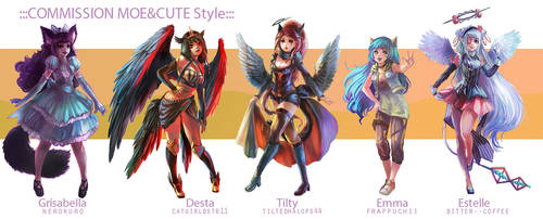 ::Fullbody Moe style::Character Commission set 8 by nanshu29