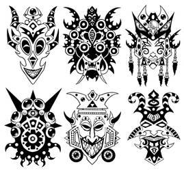 Wall of Masks 18 by Tillinghast23