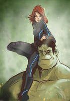 hulk and black widow by gaberoseart