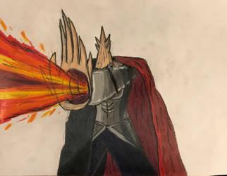 Fairy Tail OCs: Orge Harma eating fire by TitanXecutor