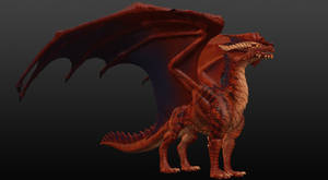 Red Dragon Sculpture Angle 1 by JereduLevenin