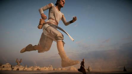 Giantess Rey running (Star Wars Battlefront 2) by Bambusrinde
