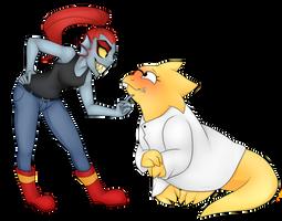 Undyne and Alphys by Scarlet-Spectrum