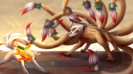 Amaterasu vs Ninetails by Scarlet-Spectrum