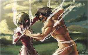 Shingeki No Kyojin: Eren vs. Mystery Lady Titan xD by Arc-Ecclesia