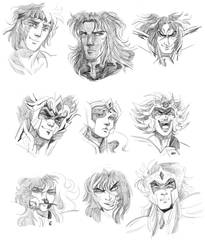 saint seiya - screencap redraws by spoonybards