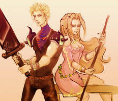 ffvii - cloud and aeris by spoonybards