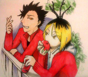 Inktober 2017-5:Kuroo and Kenma by Laet-lyre