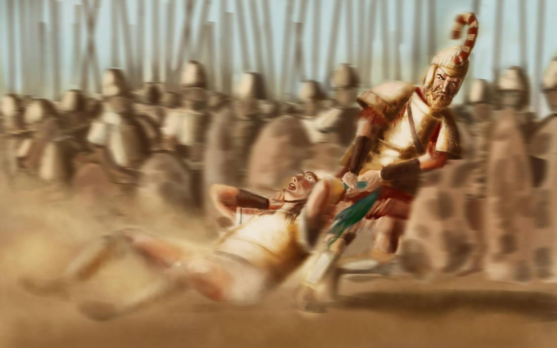 Menelaus strangles Paris, Iliad, III, 369-375 by FritzVicari