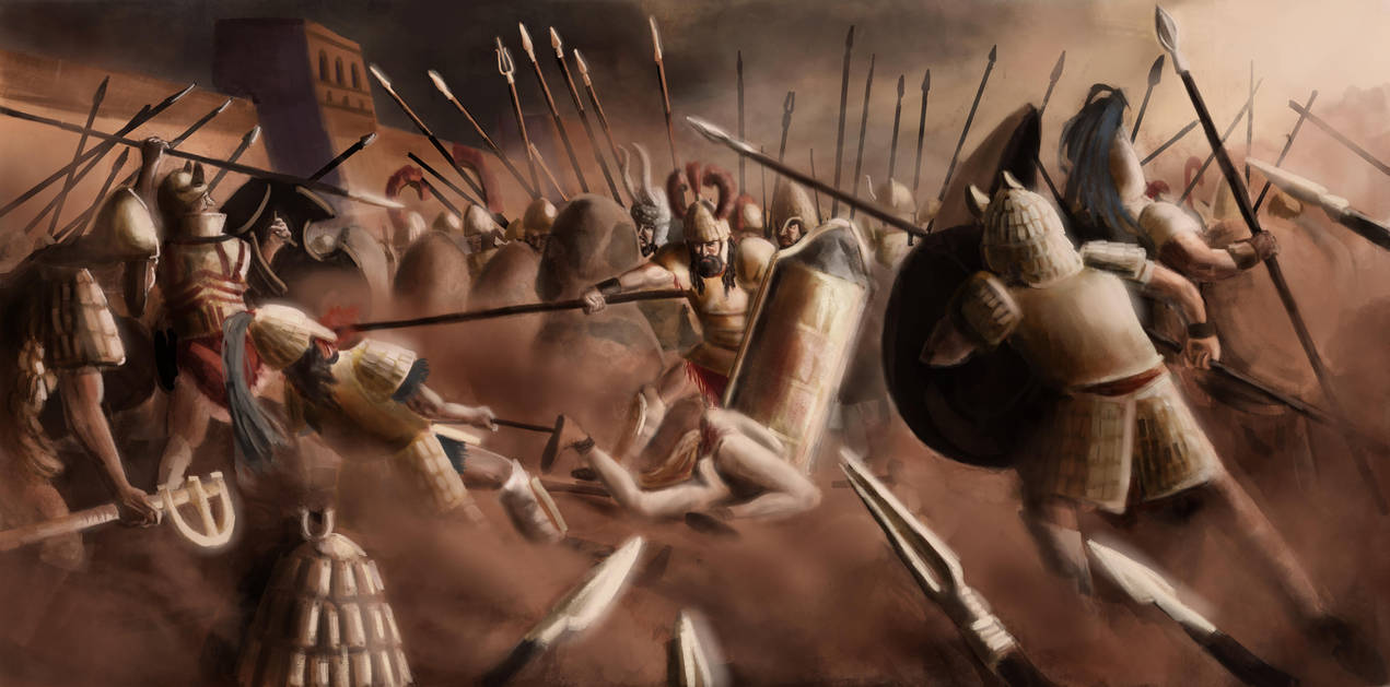 Battle for Patroclus' body, Iliad, XVII, 290-365 by FritzVicari