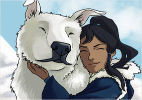Korra and Naga by Pretty-Angel