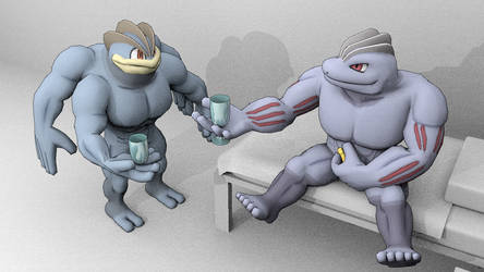 Happy Nude Year, Machoke and Machamp by DecaTilde