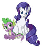 Spikey wikey And Rarity by Eins-to-Erin