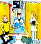 Kirk and McCoy in Medbay by Hamnerd