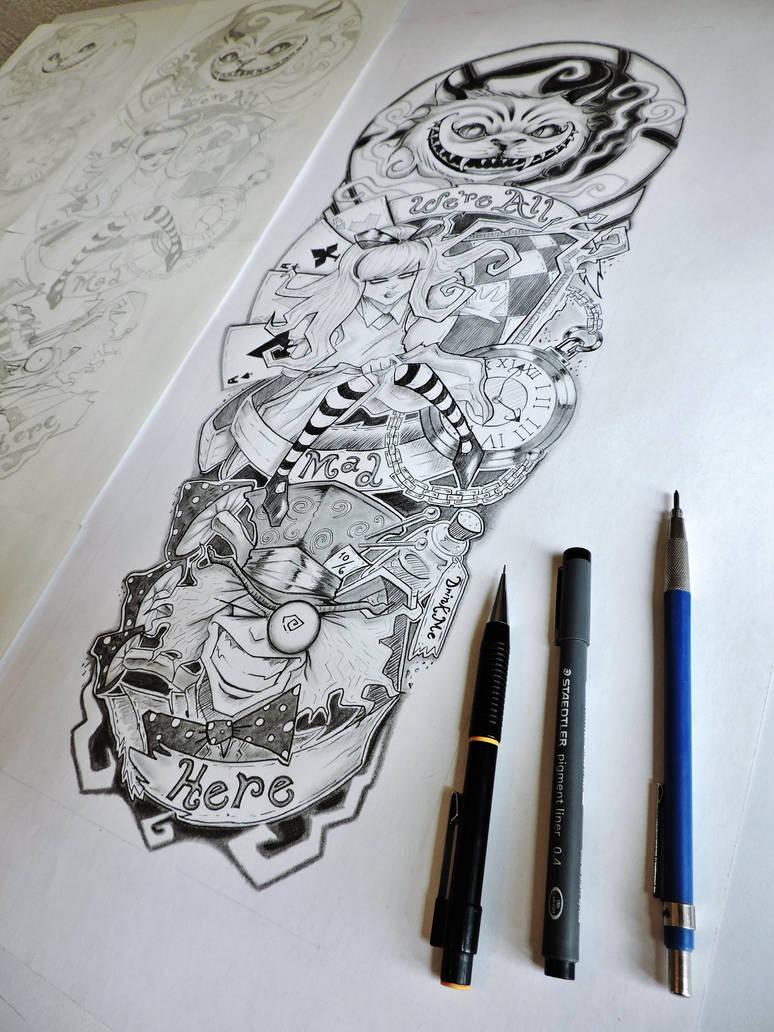 Alice In Wonderland Tattoo Sleeve By Er69ck On Deviantart