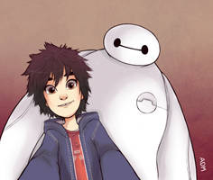 Hiro and Baymax taking a selfie by AlexDasMaster