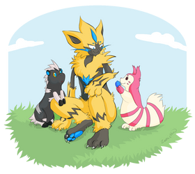 Zeraora and the kids by Zamietka