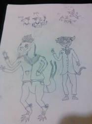 Jiran and Ferkusa (Early Sketch) by LizardZeWizard