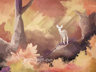 The white deer by JennyJinya