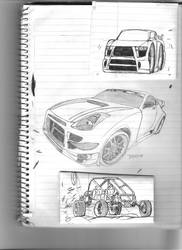 nissan 350z and some doodles by Quepthys