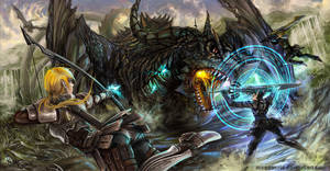 Dragon Fight by MeganeRid