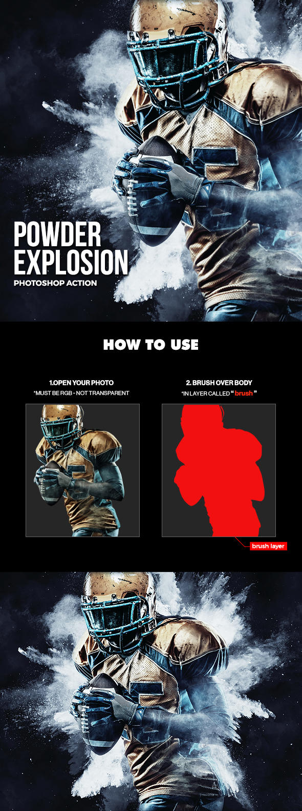 Powder Explosion Photoshop Action by hemalaya