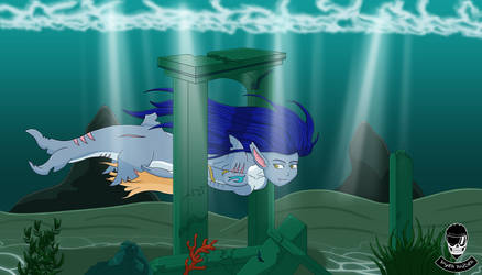 Shark girl swims in the underwater ruins by Sayer09