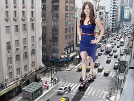 Giant Jennifer Lawrence walking against traffic. by The-WonderSlug