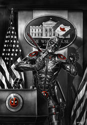 Deadpool The Patriot BW version by WhileyDunsmoreArt