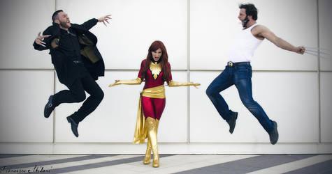 Dark Phoenix with Wolverine and Sabretooth by pchanFM