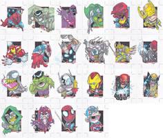 avengers sketchcards by BTURNERart
