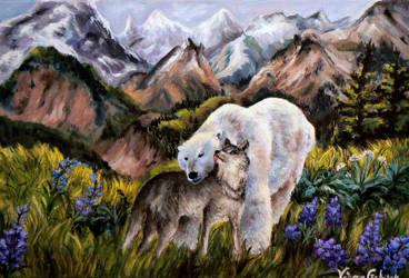 Bear and her wolf by Vinganita