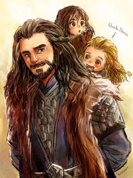 Uncle Thorin and little nephew by Kadeart0