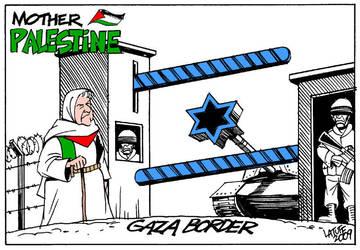 Mother Palestine Gaza border by Latuff2