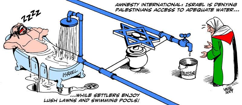 Israel curbing water by Latuff2