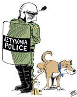 Greek riot dog by Latuff2