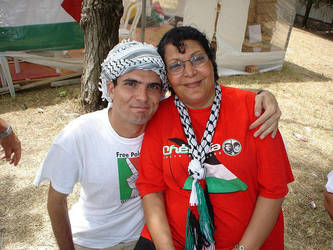 Latuff and Leila Khaled in WSF by Latuff2