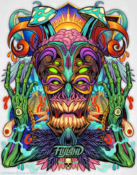 Psychedelic Tiki Creature-copyright by flylanddesigns