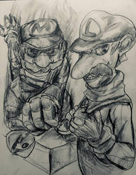 Mario bros quick sketch  by SoulStarisborn