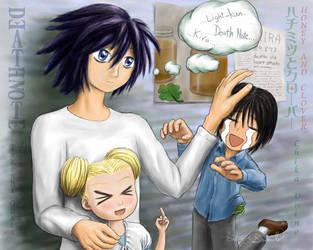 L, Hagu-chan, and Morita by honeyandclover