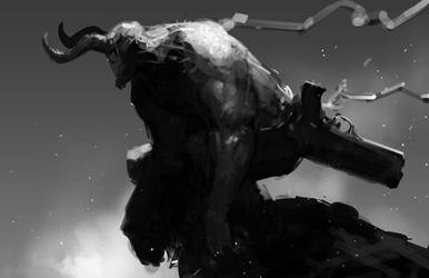 Hellboy quicksketch by Reza-ilyasa
