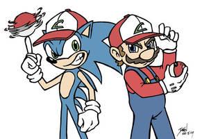 Sonic + Mario - Poke Masters by GenghisKrahn